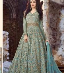 Buy Blue embroidered georgette unstitched salwar with dupatta wedding-salwar-kameez online