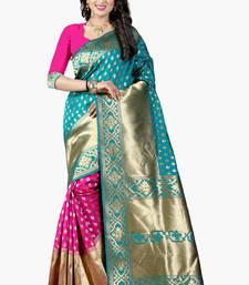 Buy Light aqua blue woven banarasi saree with blouse banarasi-saree online