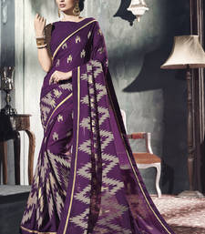 Buy Purple printed brasso saree with blouse brasso-saree online