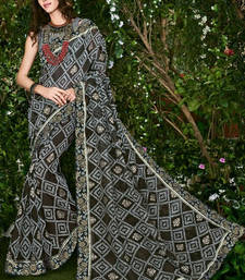 Buy Black printed brasso saree with blouse brasso-saree online