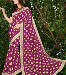 Buy Pink printed brasso saree with blouse brasso-saree online