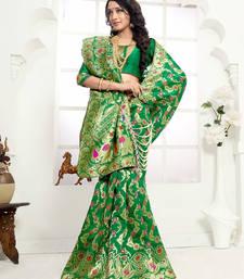 Buy Green woven banarasi silk saree with blouse black-friday-deal-sale online
