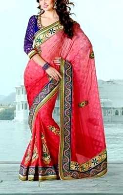 Indian Ethnic Classy Red Viscose Saree