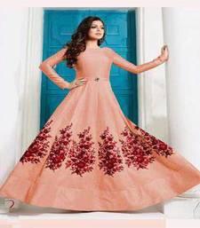 Buy Peach embroidered art silk semi stitched salwar with dupatta silk-georgette-salwar online