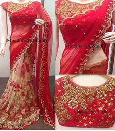 Buy Red embroidered net saree with blouse net-saree online