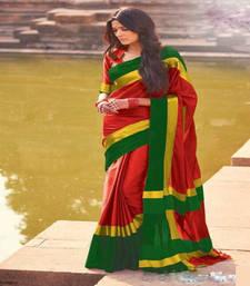Buy Red printed art silk saree with blouse art-silk-saree online