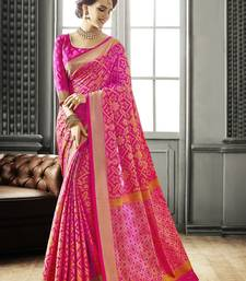 Buy Pink Jackquard Patola silk saree with blouse patola-saris online