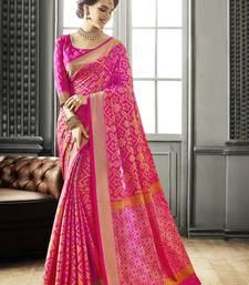 Buy Pink Jackquard Patola silk saree with blouse patola-saris online