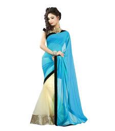 Buy   sky blue plain net saree with blouse net-saree online