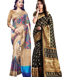Buy Multicolor printed bhagalpuri silk saree with blouse diwali-combo-offer online