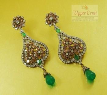 Antique Style Victorian Rhodolite Earrings