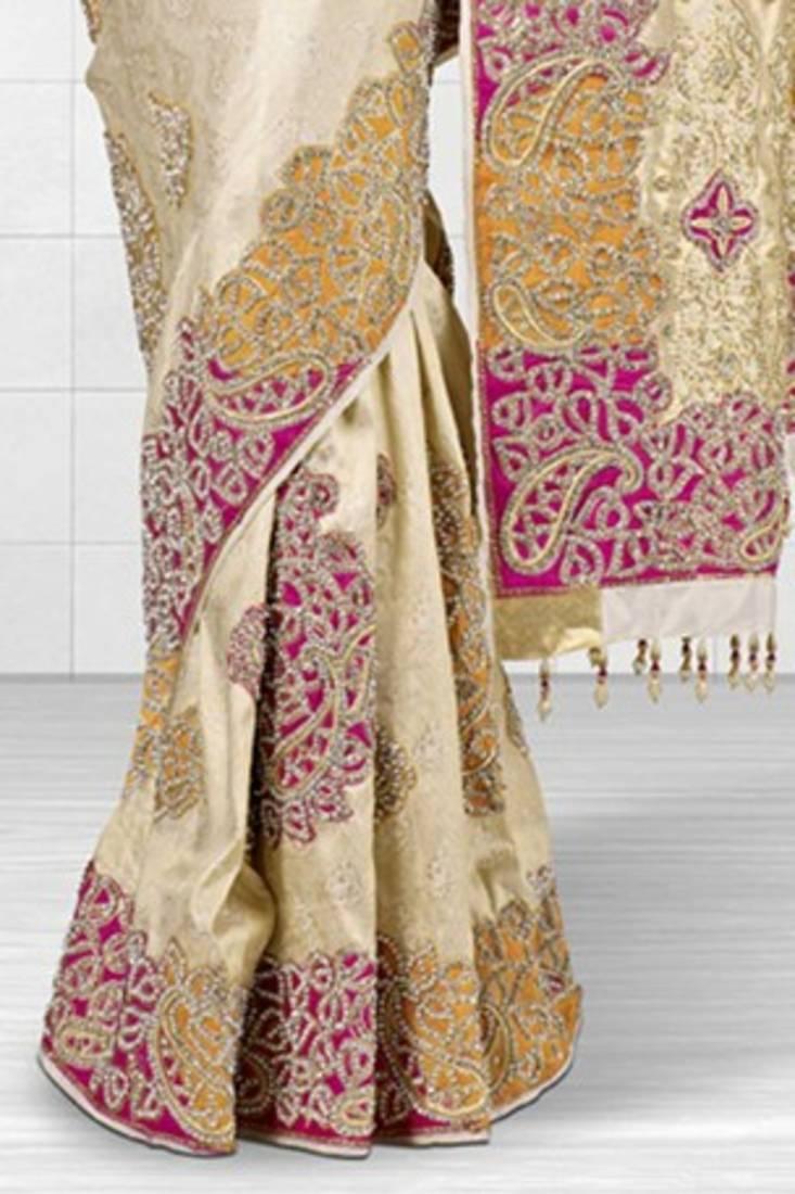 Buy White Handloom Embroidery Silk Saree With Swarovski