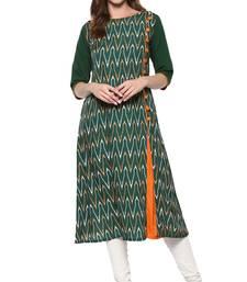Buy Green printed crepe kurtis kurtas-and-kurti online