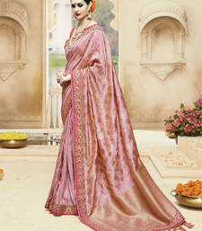 Buy Peach embroidered kanchipuram silk saree with blouse black-friday-deal-sale online