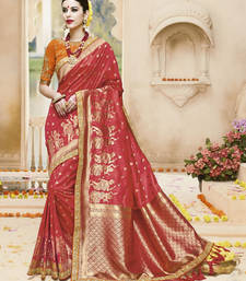 Buy Rust embroidered kanchipuram silk saree with blouse pongal-dhoti-saree online