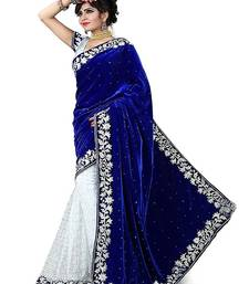 Buy blue embroidered velvet saree with blouse Woman online