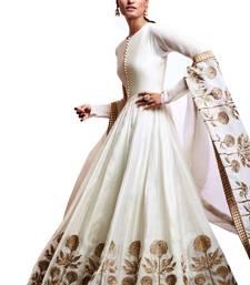 Buy White embroidered silk salwar with dupatta anarkali-salwar-kameez online