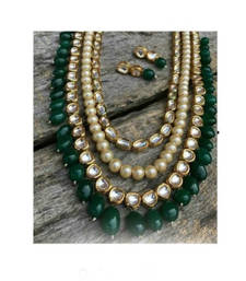 Buy Kundan and Pearl Multistrand Necklace Set With Green Onyx Droplets black-friday-deal-sale online