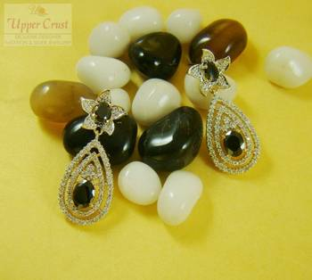 CZ Simulated Diamond Black Onyx Earrings