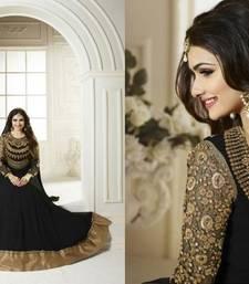 Buy black embroidered semi stitched salwar with dupatta anarkali-salwar-kameez online