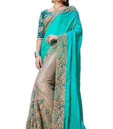 Buy Cyan embroidered art silk saree with blouse art-silk-saree online