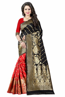 Black hand woven art silk saree with blouse