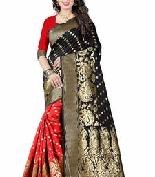 Buy Black hand woven art silk saree with blouse bridal-saree online