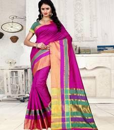 Buy Pink plain cotton,cotton linen blend saree with blouse tussar-silk-saree online