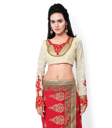Buy White georgette embroidered stitched blouse readymade-blouse online