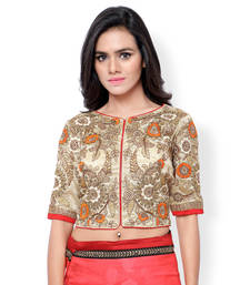 Buy Cream art silk embroidered stitched blouse readymade-blouse online
