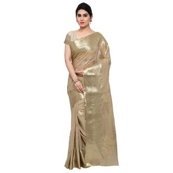 Cream woven khadi saree with blouse