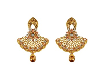Imitation Gold Plated Beaded Chandbali Earring