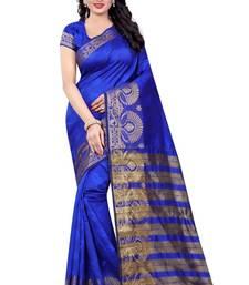 Buy Blue hand woven banarasi silk saree with blouse banarasi-silk-saree online