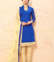Buy Royal blue plain chanderi salwar with dupatta salwar-kameez online