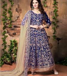 Buy Navy blue embroidered silk salwar with dupatta wedding-salwar-kameez online
