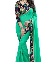 Buy Green plain georgette saree with blouse Woman online