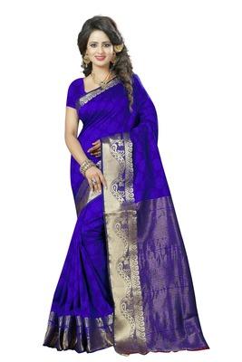 Multicolor hand woven banarasi silk saree with blouse