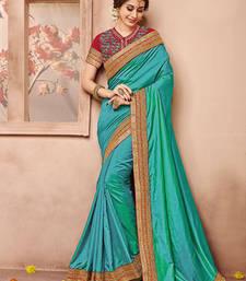 Buy Green plain silk saree with blouse silk-saree online