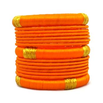 Stylish and Elegant orange Silk thread bangle  (13 PCS)