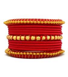 Buy Stylish and Elegant RED Silk thread bangle 2.6 (11 PCS) bangles-and-bracelet online