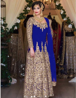 Blue embroidered art silk salwar with dupatta