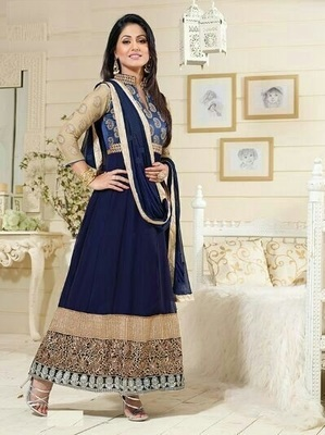 Blue embroidered georgette semi stitched long anarkali suit