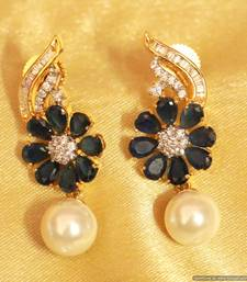 Buy Blue Sapphire Diamond Look Earrings danglers-drop online