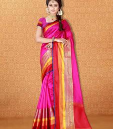 Buy Magenta woven banarasi silk saree with blouse banarasi-silk-saree online