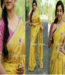 Buy Yellow embroidered chanderi saree with blouse chanderi-saree online