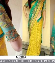 Buy Yellow embroidered net saree with blouse designer-embroidered-saree online