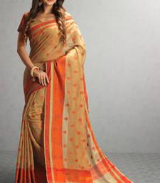 Buy beige woven cotton saree with blouse cotton-saree online