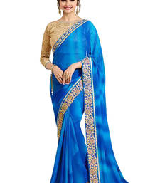 Buy Sky blue embroidered georgette saree with blouse fancy-saree online