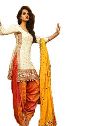 Buy White embroidered cotton salwar party-wear-salwar-kameez online