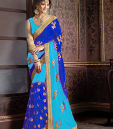 Buy Blue embroidered georgette saree with blouse black-friday-deal-sale online